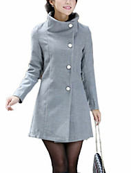 Women's Coat,Solid Shirt Collar Long Sleeve Winter Beige / Black / Gray Wool / Cotton / Others Thick