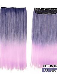 resistencia a altas temperaturas en dos tonos recta larga peluca de extensión 5 clip de 24 pulgadas 32 colores disponibles