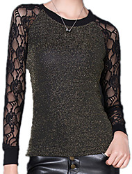 Women's Round Neck Long Sleeve Lace Sexy Purl Splicing Lace Gold / Silver Blouse T-Shirt Blouse Tops