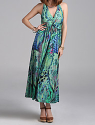 Women's Sexy  Boho Print Shift Dress , Halter Maxi Polyester