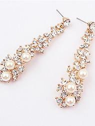 Drop Earrings Pearl Imitation Pearl Rhinestone Alloy Fashion Screen Color Jewelry 2pcs