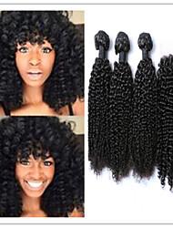 4pcs / lot non transformés cheveux vierges humaine mongol boucle frisée cheveux de trame armure extensions de cheveux avec fermeture à