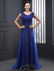 Formal Evening Dress A-line Jewel Sweep / Brush Train Tulle with Appliques