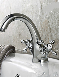 Centerset Two Handles One Hole in Ti-PVD Bathroom Sink Faucet