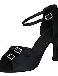 Chaussures de danse ( Noir / Marron / Léopard ) - Non Personnalisables - Talon Aiguille - Satin -Latine / Salsa / Samba / Chaussures de