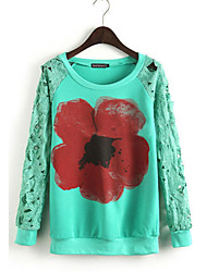 Women's Patchwork White / Green Blouse , Round Neck Long Sleeve