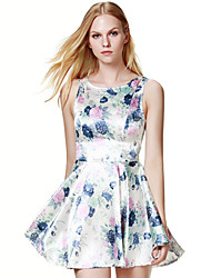 Women's Floral Blue / Pink / Red / White / Black / Gold Dress , Sexy / Print Round Neck Sleeveless sw032