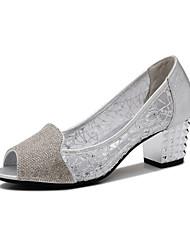 Women's Shoes Synthetic Low Heel Heels Heels Office & Career / Party & Evening / Dress Black / Silver / Gold