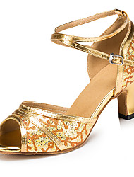 Customizable Women's Latin/Salsa/Ballroom Dance Shoes Gold/Silver Leatherette / Sparkling Glitter Sandals Customized