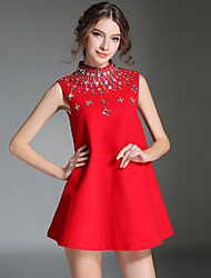 Women's Drilling Beaded Stand Collar Show Thin Woolen Sleeveless A-Line Dresses