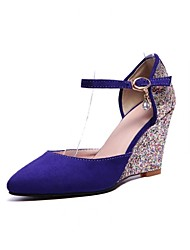 Women's Shoes Leatherette Flat Heel Wedges / Pointed Toe Heels Wedding / Casual Black / Purple / Red