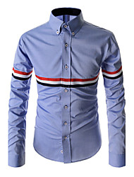 Men's Striped Casual / Work / Formal Shirt,Cotton / Polyester Long Sleeve Blue / White / Gray