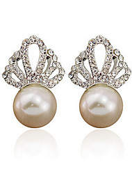 Pearl Simulated Diamond Simple Style Fashion Crown Silver Jewelry