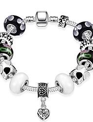Women Strand Beads Bracelets Beads Bracelet 925 Silver Crystal Bead Charm Bracelet Fit Original glass Bracelet PH007