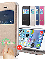 Solid Color Capa PU Leather + Tpu Smart Sliding Answer View Window Flip Full Body Case for iPhone 5C With Kickstand