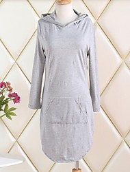 Women's Solid Gray Dress , Sexy / Plus Sizes Hooded Long Sleeve
