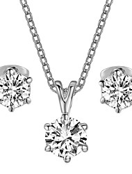 HKTC Concise White Gold Plated with 6 Prongs 1CT Cubic Zirconia Stone Necklace and Earrings Jewelry Set