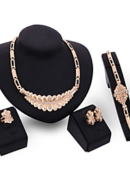 Women Gold Wedding Gifts Party Alloy Four - piece Necklace Set With Rhodium - plated Lotus Butterfly