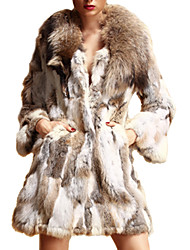 Long Sleeve Shawl Rabbit Fur&Raccoon Fur Party/Casual Coat