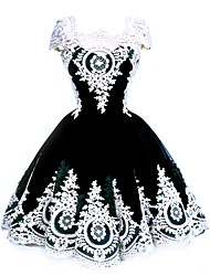 Women's Retro V Neck Printed Chiffon Short Sleeve Dress