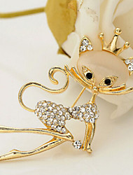 New Arrival Fashion Jewelry Rhinestone Opal Cat Brooch