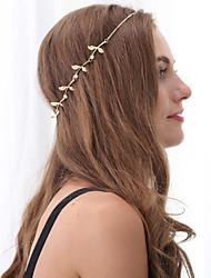 Women Fashion Simple Metal Zircon Metal Leaf Flower Temperament Headbands 1pc
