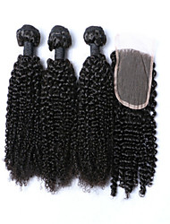 4Pcs/Lot Curly Hair Wefts Brazilian Virgin Hair Brazilian Kinky Curly Virgin Hair Human Hair Weave With Top Lace Closure