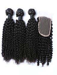 Trame cheveux avec fermeture Cheveux Mongoliens Très Frisé 4 Pièces tissages de cheveux