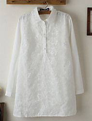 Women's Solid White Shirt , Shirt Collar Long Sleeve