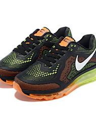 Nike Air Max zapatos de las niñas al aire libre / atléticos redondas zapatillas de deporte de moda en cuero napa dedo del pie / tul negro