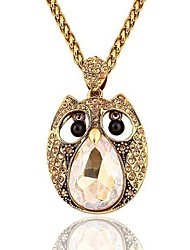 Designer Jewelry Owl Pendant Necklace Long Necklace Elegant