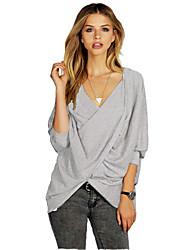 Damen Solide Sexy T-shirt,V-Ausschnitt Herbst ¾-Arm Grau Baumwolle Mittel