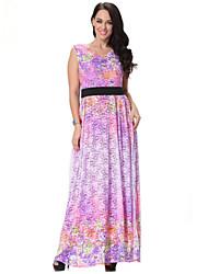 Women's Boho / Beach Floral Plus Size / Swing Dress , Round Neck Maxi Spandex