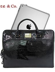 Kate & Co.® Women PVC Laptop Bag Gold / Black / Burgundy - TH-01565