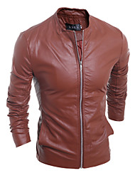 Men Slim Personality PU Leather Motorcycle Jacket