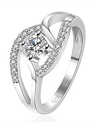 XU Women's 925 Silver Plated Diamonds Ring