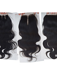 7A Malaysian Hair Closure 4x4-Silk Body Wave Bleached Knots Slightly Swiss Lace Top Closure Free Part /Middle Part/3part