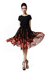 Women's Floral Black Dress, Vintage/Print/Plus Size Round Neck Short Sleeve Swing