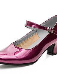 Non Customizable Women's Dance Shoes Modern Patent Leather Chunky Heel Multi-color