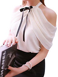 Women's Off The Shoulder Solid White Blouse Sleeveless Mesh