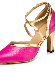 Non Customizable Women's Dance Shoes Latin / Salsa Flocking Flared Heel Fuchsia