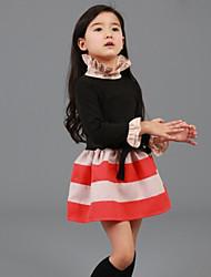 Girl's Winter / Fall Cotton Sequin Long Sleeveed Stripe  Splice Dress