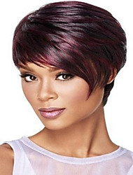Women Mix Red Color Lady Straight Short Synthetic Hair Wigs