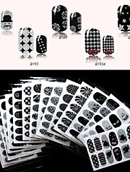 Charming Black Nail Art Decals Water Transfer Nail Art Stickers Tips Cartoon Decals Nail Art Wrap Decoration