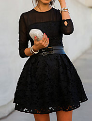Women's Lace Black Dresses , Lace Round Long Sleeve