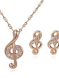 HKTC Valentine's Day Gift Music Note Stud Earrings and Pendant Necklace Party Jewelry Sets