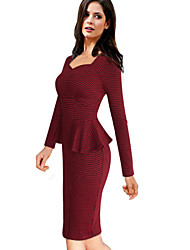 Women's Work Sheath Dress,Houndstooth Square Neck Knee-length Long Sleeve Red Cotton / Polyester / Spandex All Seasons