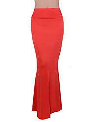 Women's Bohemia Solid Blue / Red / White / Black / Wine Red / Yellow Skirts , Sexy / Casual / Maxi