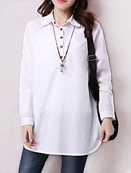 Women's Solid White / Yellow Loose Thin Blouse , Shirt Collar Long Sleeve Cotton