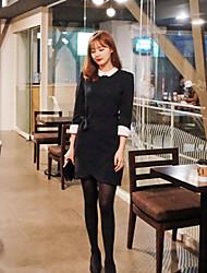 trabalho de estilo coreano das mulheres / casual / dia camisa sólida vestido, colarinho da camisa de algodão acima do joelho